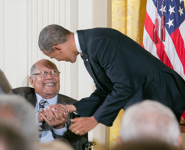 "Ernest J. Gaines, was honored with the National Medal of Arts, on July 10, 2013, at the White House, for his contributions as an author and teacher. His novels include, ""A Lesson Before Dying"", The Autobiography of Miss Jane Pittman, A Gathering of Old Men, Of Love & Dust and Catherine Carmier."