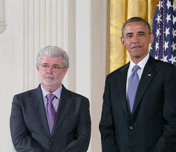 Star Wars Director, George Lucas also received the National Medal of Arts for his contributions to American cinema.