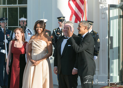 Mrs Ingibjord Elso Ingjaldsdottir; Michelle Obama; Prime Minister Sigurdur Ingi Johnannsson; and President Barack Obama, on May 13, 2016 for the Nordic Leaders State dinner