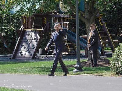 President Obama Strolls from The Oval Office