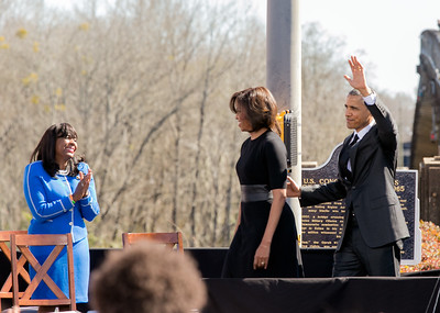Congresswoman Terri Sewell welcomes First Lady Michelle Obama and President Barack Obama to Selma, Alabama on March 7, 2015