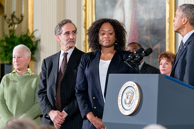 Rita Bender, David Goodman and Angela Lewis accepts the 2014 Presidential of Freedom for Michael Henry Schwerner, Andrew Goodman and James Earl Chaney (Posthumously), at the 2014 Presidential Medal of Freedom on November 24, 2014