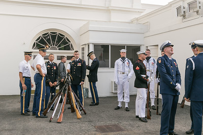 Several Members of America's Armed Forces Waiting for the Ceremony