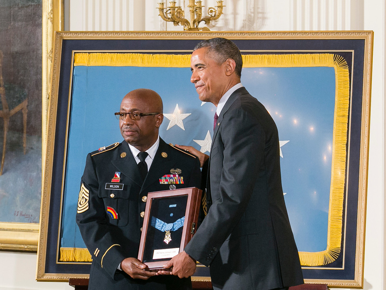 Sgt. Major Louis Wilson accepts the Medal of Honor