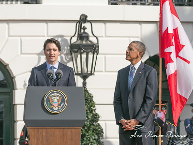 Canadian Justin Trudeau and President Barack Obama, on March 10, 2016 at the Canada welcoming ceremony on the south lawn of the White House.
