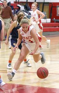 no.4, McKayla Hughes Point Pleasant Beach girls basketball v/s Trinity Hall in Point Pleasant Beach, NJ on 12/18/18. [DANIELLA HEMINGHAUS | THE OCEAN STAR]
