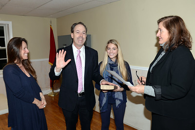 Mantoloking, New Jersey Councilman F. Bradford Bratcha being sworn-in to office with his family present on 01/03/2019. (STEVE WEXLER/THE OCEAN STAR).