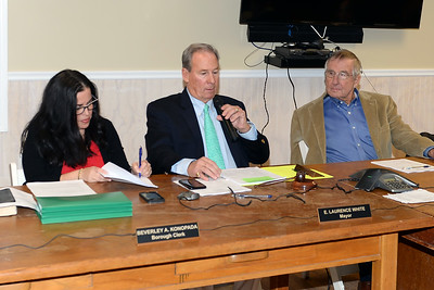 Mantoloking, New Jersey Mayor E. Laurence White addressing the audience at the reorganization meeting on 01/03/2019. (STEVE WEXLER/THE OCEAN STAR).