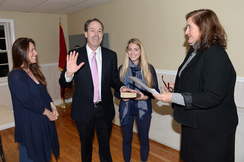 Mantoloking, New Jersey Councilman F. Bradford Bratcha being sworn-in to office as his family observes on 01/03/2019.(STEVE WEXLER/THE OCEAN STAR).