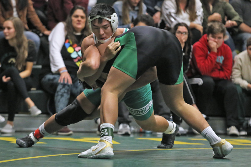 Hao Tong of Brick takes on Sam Azzaretfi of Brick Memorial during their 195 lb bout as Brick Memorial High School hosted Brick Township High School for a boys varsity wrestling match on Tuesday Jan. 8,2019 (MARK R. SULLIVAN /THE OCEAN STAR)