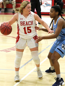 no.15, Cassidy Burns Point Pleasant Beach girls basketball v/s Mater Dei in Point Pleasant Beach, NJ on 1/31/19. [DANIELLA HEMINGHAUS | THE OCEAN STAR]