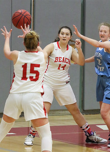 no.14, Patricia Rizzo and no. 15, Cassidy Burns Point Pleasant Beach girls basketball v/s Mater Dei in Point Pleasant Beach, NJ on 1/31/19. [DANIELLA HEMINGHAUS | THE OCEAN STAR]