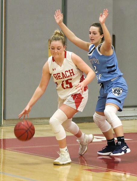 no.15, Cassidy BurnsPoint Pleasant Beach girls basketball v/s Mater Dei in Point Pleasant Beach, NJ on 1/31/19.[DANIELLA HEMINGHAUS | THE OCEAN STAR]