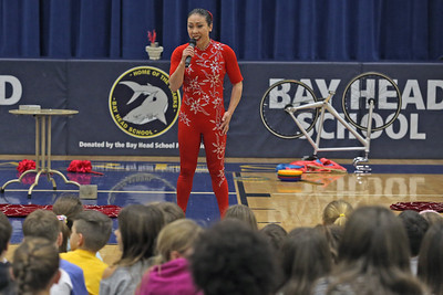 Acrobat Li Liu performs for students at the Bay Head Elementary School in Bay Head on Friday Feb. 1, 2019.  (MARK R. SULLIVAN/THE OCEAN STAR)