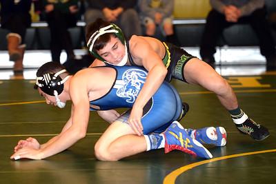 Vinnie Santaniello, Brick Memorial Varsity Wrestler defeated his Hightstown High School opponent in their match on 02/04/2019. (STEVE WEXLER/THE OCEAN STAR).