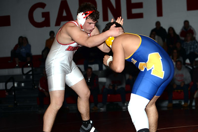 Point Pleasant Beach High School Varsity Wrestler Liam Buday in his match with his Millville High School opponent on 02/06/2019. (STEVE WEXLER/THE OCEAN STAR).