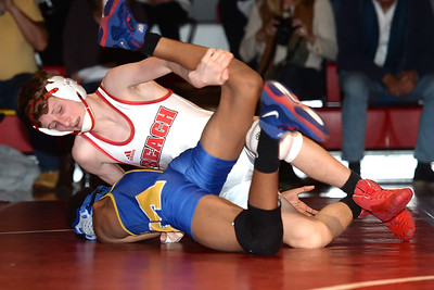 Jonah Bowers of the Pt. Pleasant Beach High School Varsity Wrestling Team defeated his opponent from Millville High School in his match on 02/06/2019. (STEVE WEXLER/THE OCEAN STAR).