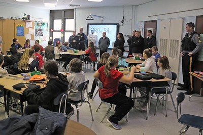 A sixth grade class gets ready to take part of an active shooter drill as police officers from the Bay Head and Point Pleasant Beach departments were on hand with the Lavallette Police department for a ALICE training session at the Lavallette Elementary School on Thursday Feb. 14, 2019. (MARK R. SULLIVAN/THE OCEAN STAR)