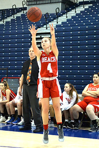 #4, McKayla Hughes of the Point Pleasant Boro High School Girl's Varsity Basketball Team takes a corner shot in the game against Toms River North High School on 02/12/2019. (STEVE WEXLER/THE OCEAN STAR).