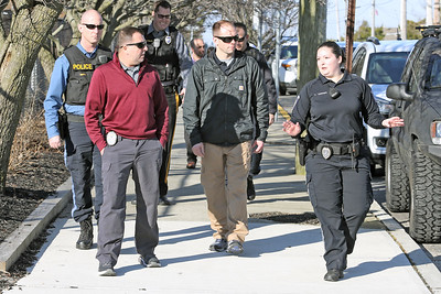 Police officers from the Bay Head and Point Pleasant Beach departments were on hand with the Lavallette Police department for a ALICE training session at the Lavallette Elementary School on Thursday Feb. 14, 2019. (MARK R. SULLIVAN/THE OCEAN STAR)