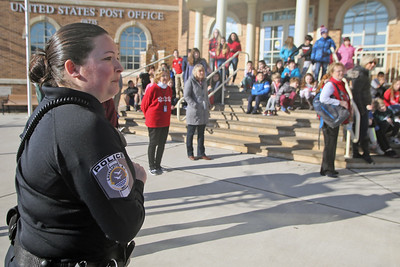 Lavallette Police officer Taylor Keller watches after students evacuated the elementary school as officers from the Bay Head and Point Pleasant Beach departments were on hand with the Lavallette Police department for a ALICE training session at the Lavallette Elementary School on Thursday Feb. 14, 2019. (MARK R. SULLIVAN/THE OCEAN STAR)