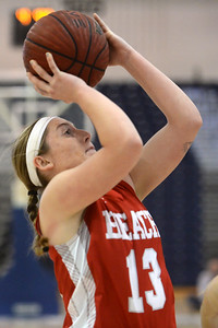 #13, Madelyn House of the Point Pleasant Beach High School Girl's Varsity Basketball Team takes a shot in the game against Toms River North High School on 02/12/2019. (STEVE WEXLER/THE OCEAN STAR).