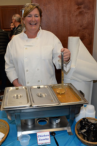 Jennifer Toole serving the Jimmys Cucina Chiucken Gumbo Soup entry at the Point Pleasant Beach Chamber of Commerce sponsored Soup Cook Off on 02/21/2019. (STEVE WEXLER/THE OCEAN STAR).