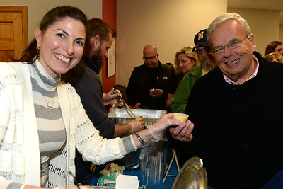 Larry Langan of Manasquan, NJ samples the Duke's soup entry served by Sarah Chiarella at the Point Pleasant Beach Chamber of Commerce sponsored Soup Cook Off in Point Pleasant Beach, NJ on 02/21/2019. (STEVE WEXLER/THE OCEAN STAR).