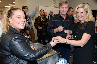 Vanessa Berrios representing the Atlantic Offshore Fisheries served their soup entry to Jamie and Pamela Waldron at the Point Pleasant Beach Chamber of Commerce sponsored Soup Cook Off in Point Pleasant Beach, NJ on 02/21/2019. (STEVE WEXLER/THE OCEAN STAR).