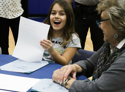"Bri Flanagan with her grandmother Vicki Carton, from Brick. Bay Head Elementary School's ""Grandfriends Day"" event in Bay Head, NJ on 2/21/19. [DANIELLA HEMINGHAUS 