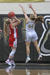 All House (left) goes for the shot as Annalise Albarano (right) blocks the shot as  Point Pleasant Borough High School hosted cross town rival Point Pleasant Beach in a girls varsity basketball game on Friday Feb. 22, 2019. (MARK R. SULLIVAN /THE OCEAN STAR)