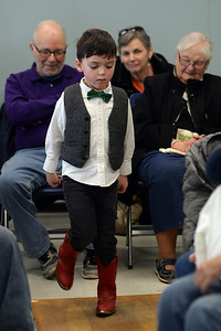 "As the audience looked on, 4 year old Connor Reynolds of Spring Lake, NJ performed a dance routine to the sounds of traditional Gaelic songs performed by ""Daoine"" a traditional Celtic Band during their performance at the Ocean County Library, Brick Branch on 03/09/2019. (STEVE WEXLER/THE OCEAN STAR)."
