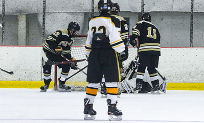no.12, Eddie Coyne and no.11, Tyler Griffin. Point Pleasant Boro Hockey v/s Saint John Vianney in the Handchen Cup in Wall, NJ on 2/13/19. [DANIELLA HEMINGHAUS | THE OCEAN STAR]