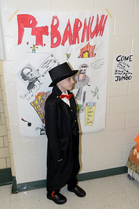 The Antrim Innovation Fair included  portrayals of famous people by school students, including one of the showman, P.T. Barnum at the Antrim School on 03/14/2019. (STEVE WEXLER/THE OCEAN STAR).
