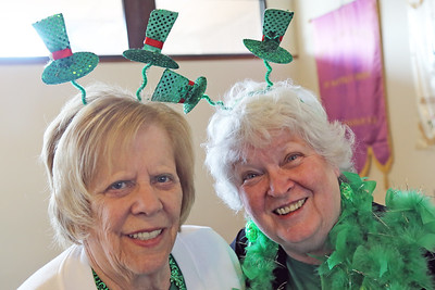 Karen Daschon (left) for Toms River and Margie Nappi (right) of Brick were on hand at the St. Martha's Roman Catholic Church in Point Pleasant borough hosted a traditional St. Patrick's Day dinner at the church on Thursday March 14, 2019. (MARK R. SULLIVAN /THE OCEAN STAR)