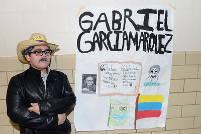 Antrim School Fifth Grader portrays Gabriel Garcia Marquez a famous writer at his display as part of the Antrim School Innovation Fair in Point Pleasant Beach, NJ on 03/14/2019. (STEVE WEXLER/THE OCEAN STAR).