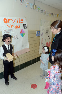 The famous Aviator, Orville Wright is portrayed by 5th Grader, Max Esposito, as Bella Califano, Heather Califano, and Juliana Califano look on during the Antrim Innovation Fair, at the Antrim Elementary School, Point Pleasant Beach, NJ on 03/14/2019. (STEVE WEXLER/THE OCEAN STAR).