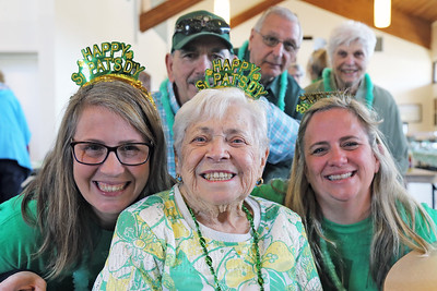 93 year old Anne Mastrangelo (center)  of Point Pleasant Borough was on hand at the St. Martha's Roman Catholic Church in Point Pleasant borough hosted a traditional St. Patrick's Day dinner at the church on Thursday March 14, 2019. (MARK R. SULLIVAN /THE OCEAN STAR)