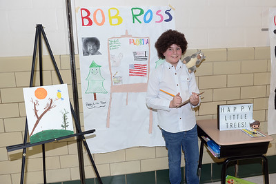 Fifth Grader Benjamin Goss portrays Bob Ross the famous American Painter during the Antrim Innovation Fair at the Antrim Elementary School, Point Pleasant Beach, NJ on 03/14/2019. (STEVE WEXLER/THE OCEAN STAR).