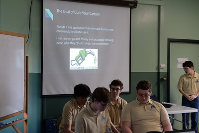 Point Pleasant Boro High School stuents, Dan Wheiler,  Michael Mayfield, Frank Nemeth, Nick Grabcowski, and Tyler Spenssen present their project at the STEAM Tank Challenge, held at the Info Age Complex in Wall, NJ on 03/16/2019. (STEVE WEXLER/THE OCEAN STAR).