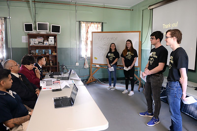 Point Pleasant Boro High School students, Molly Sabia, Maeve McKeon, Bradley Preiser, Jackson Perry, and Tyler Spensson prent their project at the STEAM Tank Challenge, held at the InfoAge Complex in Wall, NJ on 03/16/2019. (STEVE WEXLER/THE OCEAN STAR).