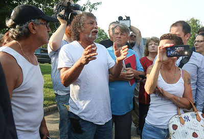 Greenbriar resident Angel Santos voicing his concerns to governor Murphy. The aftermath of the flooding in Greenbriar I in Brick Township, NJ on 8/17/18. [DANIELLA HEMINGHAUS | THE OCEAN STAR]