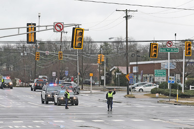 Brick Township Police on scene at Cedarbridge Ave. and Brick Blvd. where a downed power line caused traffic problems in the area on Friday March 22, 2019. (MARK R. SULLIVAN /THE OCEAN STAR)