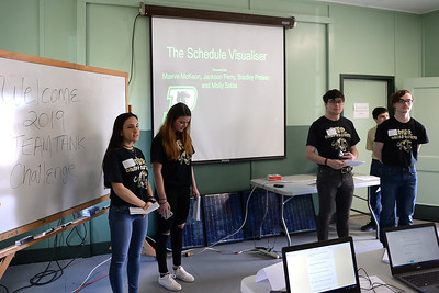 Point Pleasant Boro High School students, Molly Sabia, Maeve McKeon, Bradley Preiser, Jackson Perry, and Tyler Spensson preesent their Schedule Visualiser project at the STEAM Tank Challenge, held at the InfoAge Complex, in Wall Township, NJ on 03/16/2019. (STEVE WEXLER/THE OCEAN STAR).