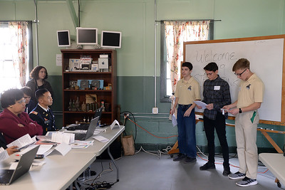 Point Pleasant Boro High School students, Tyler Spensson, Matt Pettinato, and Chris Ronanchak present their project at the STEAM Tank Challenge held at the InfoAge Complex in Wall, NJ on 03/16/2019. (STEVE WEXLER/THE OCEAN STAR)