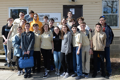 The Point Pleasant Boro High School group gathered at the STEAM Tank Challenge, held at the InfoAge Complex, in Wall, NJ on 03/16/2019. (STEVE WEXLER/THE OCEAN STAR).