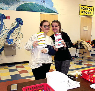 Point Boro Read Across America 03/09/2017 from L to R: Molly Moran age 15 from Point, Allie Delany age 15 from Point at the coloring station.