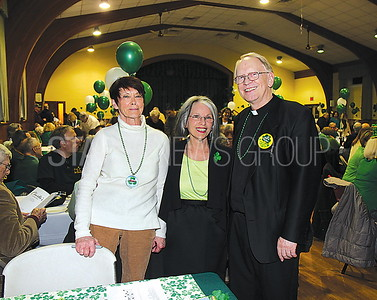 Bay Head st. patricks dinner party 03/11/2017 from L to R: Edie Wohrmann from Brick, Janet O'Connor from Point, Father Michael from Bay Head