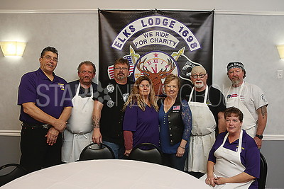 BCH ELKS PASTA DINNER// Motorcycle Committee Elks Lodge 1698.. L to R: Bill DeCosimo. JR Taylor. Jim Suveges. Mary Ann DeRose. Marguerite Schiavello. Charlie Scanlon. Phyllis Willever and Bob Conway