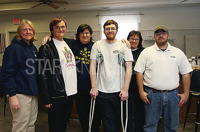 BCH ELKS PASTA DINNER// Members of the Pt. Pleasant DeMolay Organization in Leadership training came to volunteer theire time. L to R: Advisor Myra Strucek. Andreas Hoeverman 13. Phillip McCollum 18. Raymond Wright 19. Advisors Margery Wright and STanley Willever